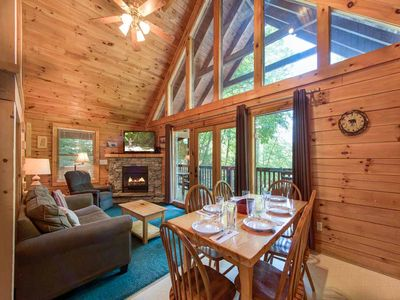 Photo for On Smoky's Pond, 3 Bedrooms, Sleeps 8, Pool Access, Hot Tub, Fireplace