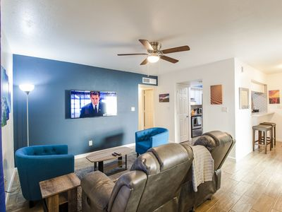 Photo for Casa Grande modern 3bd 2ba heated pool, theatre seating, lush quiet and central.