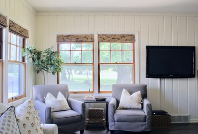 Living room views of the oak grove, perfect for recharging after a full day!