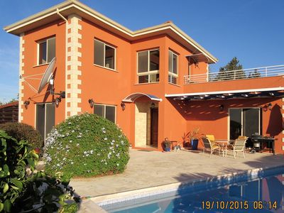 Photo for Peaceful villa with panoramic sea views over olive groves in traditional village