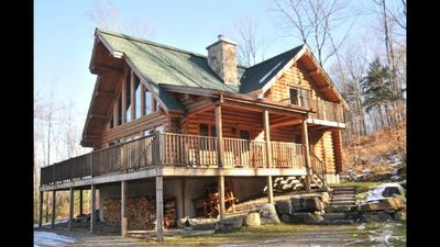 Photo for Beautiful wood cottage near Tremblant