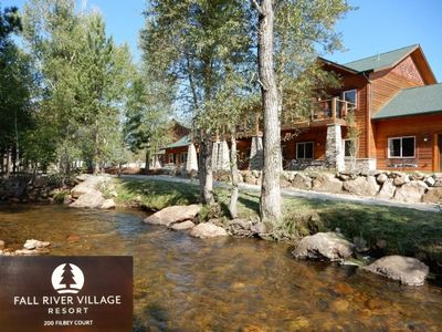 Photo for Riverside Condo with Mountain Modern Decor. Fire Pit Next to River, 5 Min Walk to Town!