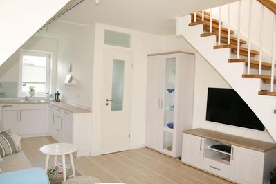 """Livingroom in holiday apartment """"Himmelreich"""" in Norddorf on the island Amrum"""