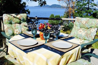 Dine in comfort on your private deck with sweeping views of the Gulf Islands