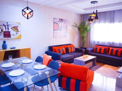 Photo for MODERN Marrakech apartment with Wifi,Lift, Parking, Air-conditioning and Pool