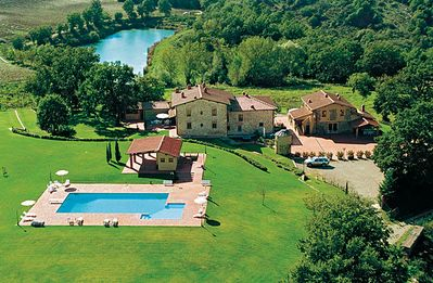 Photo for Lake House, Farm in the hills between Arezzo Florence Siena, Garden, Pool