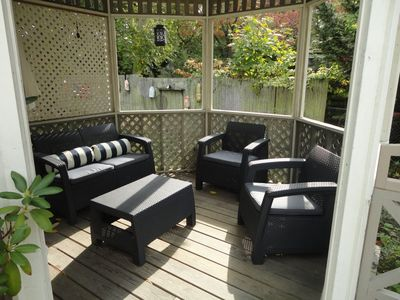 The gazebo is a wonderful place to relax, read and enjoy some local wine.