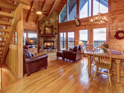 Photo for Dog-friendly cabin w/ private hot tub, large deck, & breathtaking mountain views
