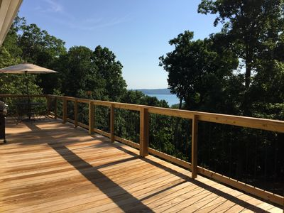 Deck with grill and lake view