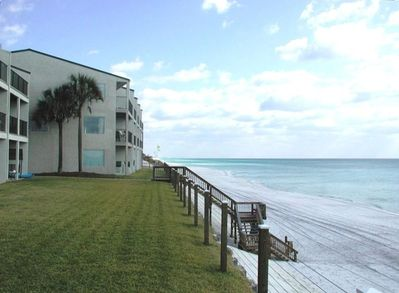 View of West-end Unit (Next to Palm Trees) - Closest to Beach...REALLY!!