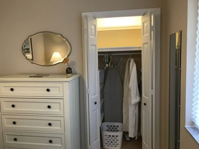 closet, full view, note ironing board (iron is there too)
