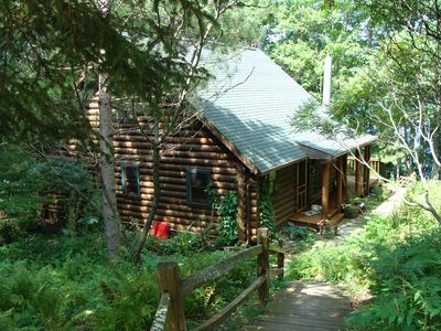 Photo for 2 cabins on 10 gorgeous wooded acres w/ 900 ft of shoreline close to ski trails