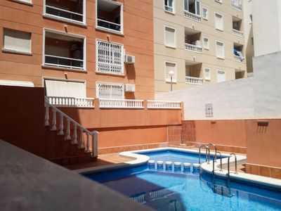 Photo for Heart center, beach within walking distance, apartment with air conditioning and swimming pool