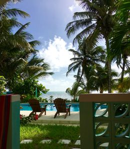 View of the pool and the Caribbean Sea from our lanai