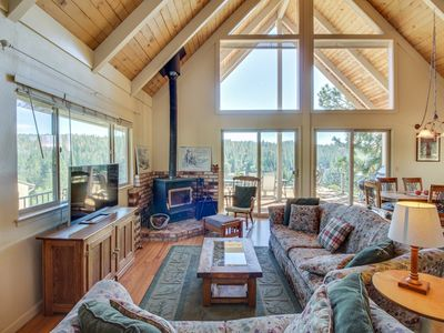 Photo for A-frame home w/ stunning lake views, huge deck, shared pool + near Yosemite!