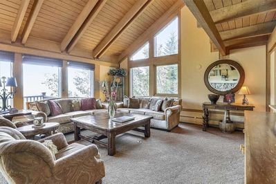 Living room with floor to ceiling windows and stunning views of the valley