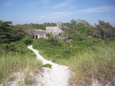 from top of the dune looking back towards the house