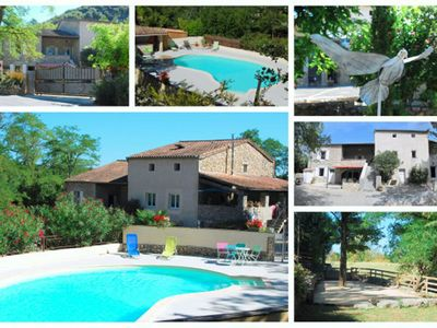 Photo for Charming cottage *** 17 people, heated pool, 9 bedrooms Vallon Pont d'Arc