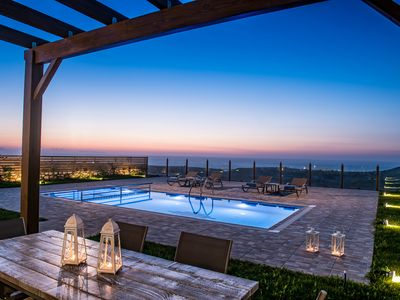 Photo for Hilltop Sea Panoramic Views  at Thea villa with private Pool+BBQ, 4km to Beach