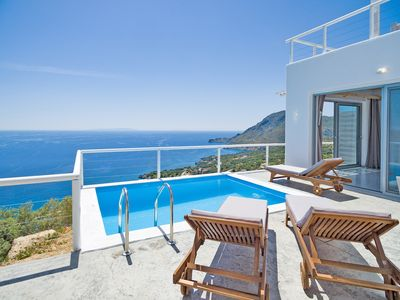 Photo for New villa with Incredible sea view, private pool,near  beach and tavern