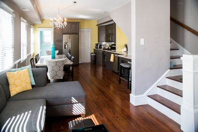 First floor featuring original hardwood floors and stairs