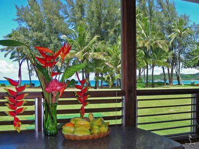 Photo for Hanalei Moon Beach Cottage, from your lanai 2 grass, 2 sand & sea