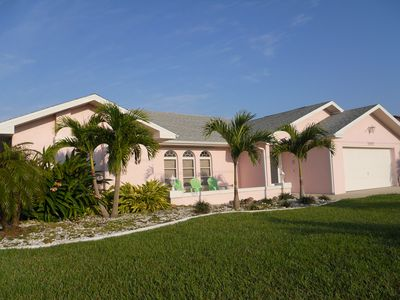 Photo for THE PINK PALACE  Lovely Privt Pool Home in SW Cape on Gulf Canal by Cape Harbor
