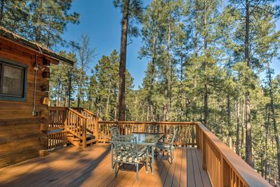 This spacious New Mexico cabin sleeps 6 lucky guests.