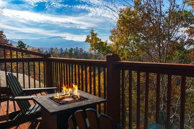 Private deck  to take in this amazing view of the smoky mountains.