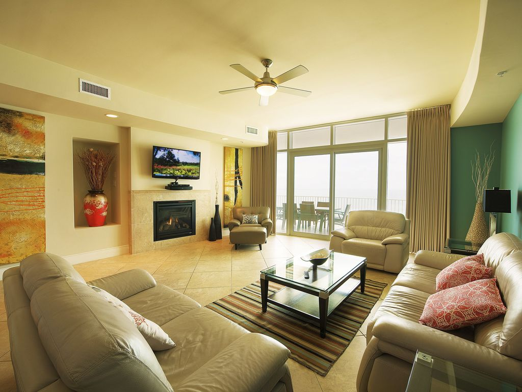 Living room seen from kitchen area  50  TV with BOSE solo sound system. Magnificent Turquoise Place Condo   VRBO