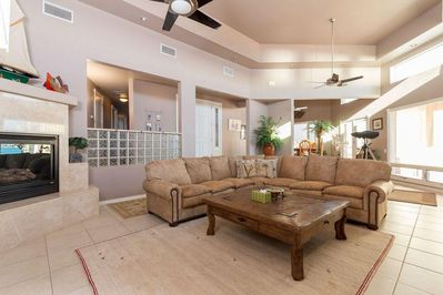 Family/Living Room with fireplace and entertainment system