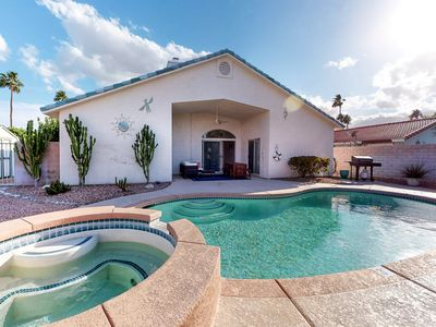 Photo for Newly-redecorated home w/ a private pool, spa, & furnished patio