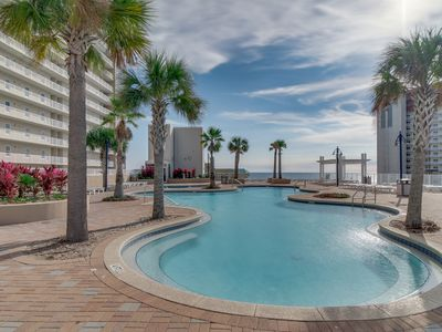 Photo for Luxury beach condo w/ private balcony,  shared grills, pool & hot tub