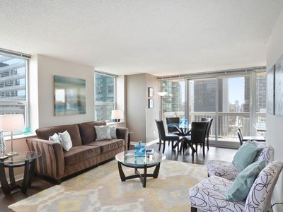 Photo for Suite w/ balcony, pool, fitness center, & skyline views at Grand Plaza! Dogs ok!