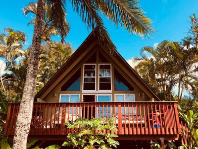 Photo for Classic Hawaiian style a-frame cottage just steps away from the beach