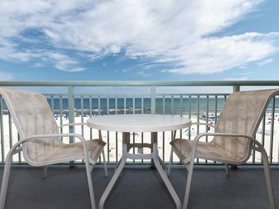 Balcony view - The balcony has a patio table for you and your guests to gather around.