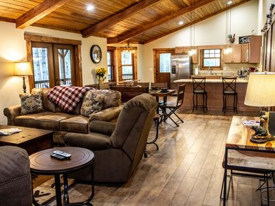 Photo for Brand NEW LUXURY Cabin ~ 23 Acre Estate ~ Hot Tub ~ 8 miles to Downtown!