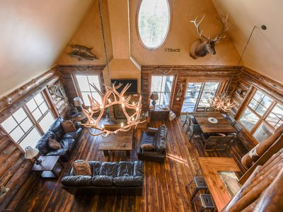 Photo for New Log Cabin Near Deadwood Sleeps 14! Hot Tub, 2 Fireplaces, Access to Pool!