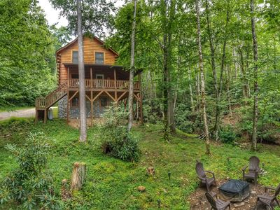 Photo for NEW! Cranberry Creek Cabin - Secluded mountain log cabin in Smoky Mountains