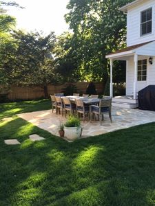 Outdoor teak dining for 12