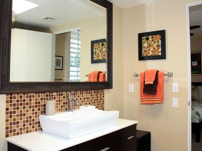 Designer style and comfort with privacy and vrbo for Jack and jill bathroom vanity