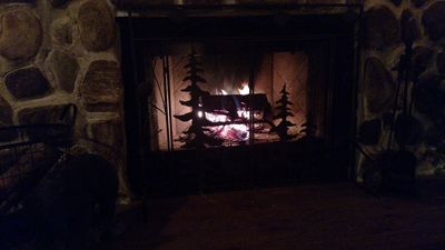 Enjoy a cozy night by the fire