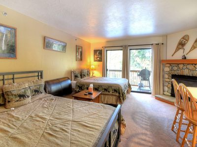 Photo for Studio A108 is furnished with 2 queen-size beds and a single full bath, just like you would find ...
