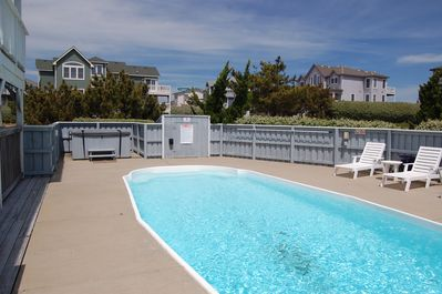 Our large, private pool with hot tub.