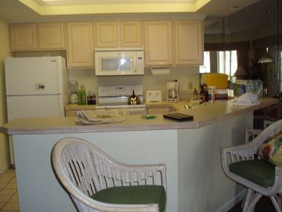 Kitchen area is roomy and well stocked. Unit comes with all the extras you need