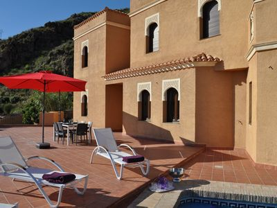 Photo for Moorish villa with panoramic views, private pool, quiet, 15 km from the beaches