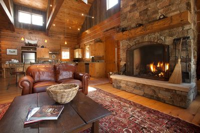 The massive fireplace and living room area of the Lodge.