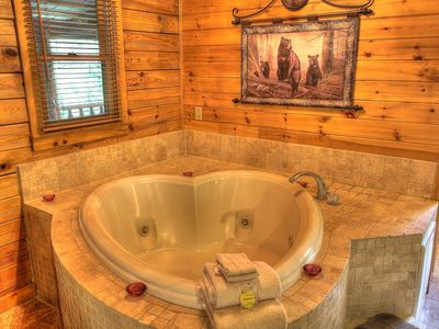 Photo for Romantic Cabin, Hot Tub, Heart shaped Jacuzzi, Gated, Explore the mountains