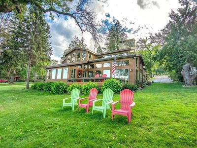 Photo for Lakefront Home w/Private Dock, Hot Tub, Fire Pit, & Wood Fireplace!