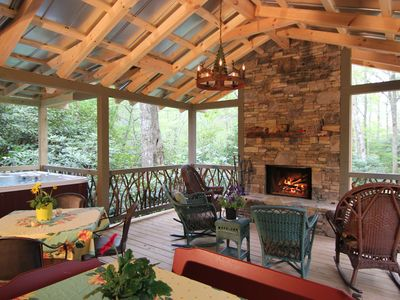 Photo for In Town, 2 Masters, Outdoor Living Area W/fireplace,Spa, Stream & Pond